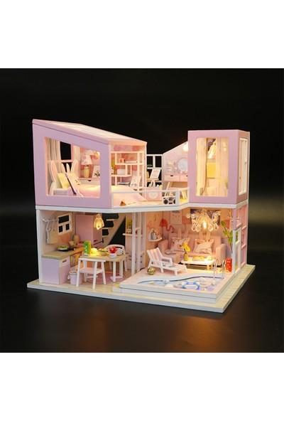 Buyfun Minyatür Bebek Evi Mobilya ve LED Işık ile Diy Ahşap
