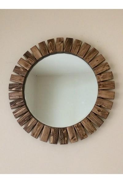 Dfn Wood Masif Ahşap Yuvarlak Dekoratif Duvar Salon Banyo Aynası