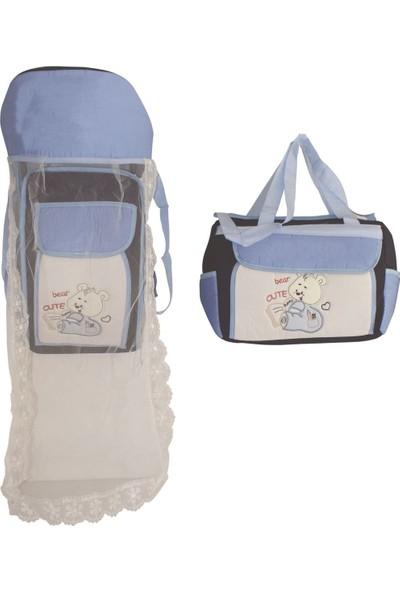 Bebek Odam Tüllü Ayıcıklı Bebek 2'li Taşıma Seti - Mavi Lacivert