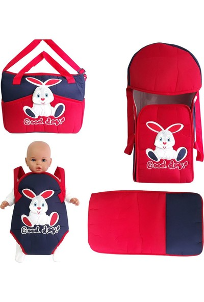 Bebek Odam Bebek Kanguru Portbebe 4'lü Taşıma Seti - Kırmızı