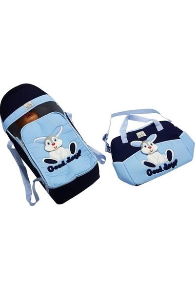 Bebek Odam Tavşan Desenli 2'li Bebek Taşıma Seti - Mavi