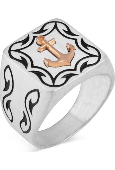 Candie Silver Çapa Figürlü Denizci 925 Ayar Gümüş Yüzük