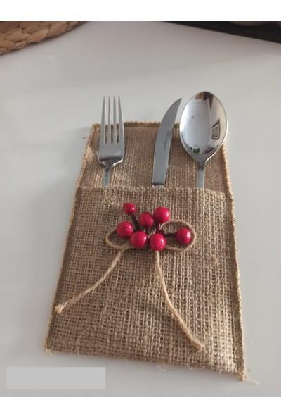 Kivi Store 2'li Yapay Yılbaşı Çiçeği Berry Holly ile Süslenmiş El Yapımı Jüt Kaşıklık Servislik