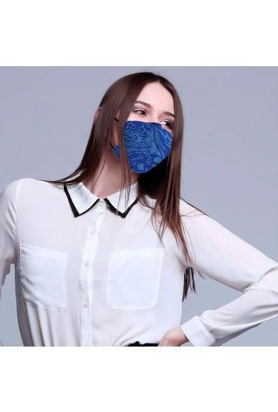 Monopro Vegan Cupro Klipsli ve Telli Desenli Antibakteriyal Yıkanabilir Maske