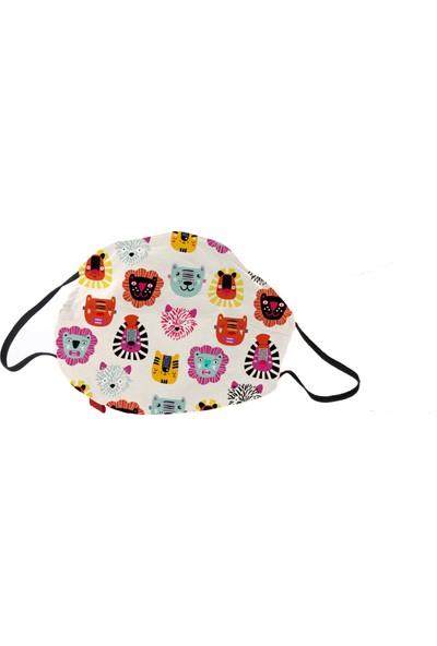 Monopro Vegan Cupro Kumaş Telli Desenli Antibakteriyal Yıkanabilir 6-10 Yaş Çocuk Maske