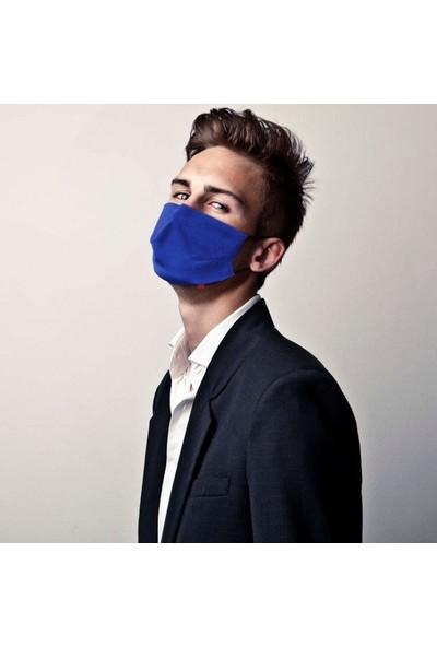 Monopro Vegan Cupro Klipsli ve Telli Saks Mavisi Antibakteriyal Yıkanabilir Maske