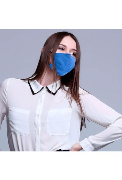 Monopro Vegan Cupro Klipsli ve Telli Bebek Mavisi Antibakteriyal Yıkanabilir Maske