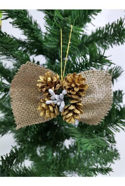 çakıls Parti Yılbaşı Çam Ağacı Süsü Hasır Simli Gümüş-Gold Kozalak 2 Adet