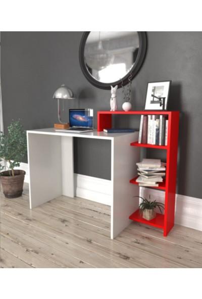 Rood Wit Yeni Model Raflı Şık Kırmızı Kitaplıklı Çalışma Masası