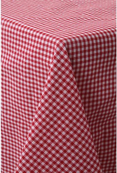 Softest Piti Kareli Kırmızı Masa Örtüsü 170x170 Pamuk