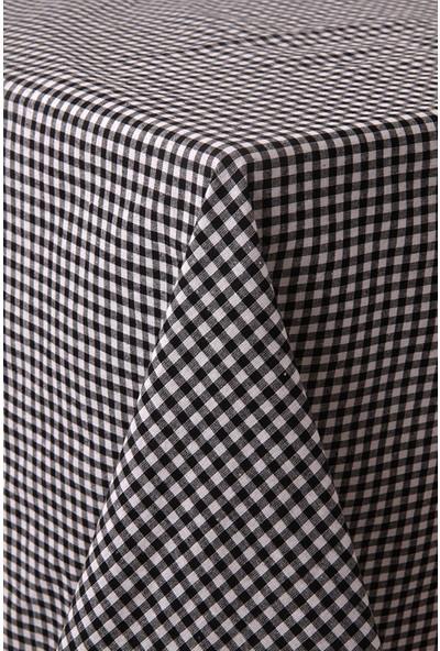 Softest Piti Kareli Siyah Masa Örtüsü 170x170 Pamuk