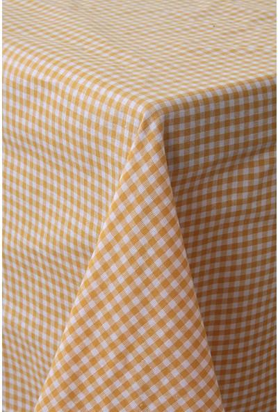 Softest Piti Kareli Sarı Masa Örtüsü 170x170 Pamuk