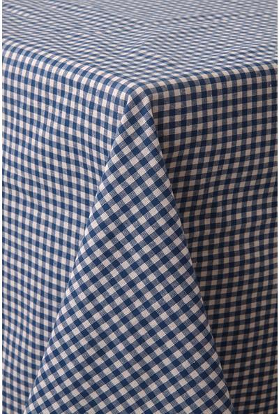 Softest Piti Kareli Mavi Masa Örtüsü 170x170 Pamuk