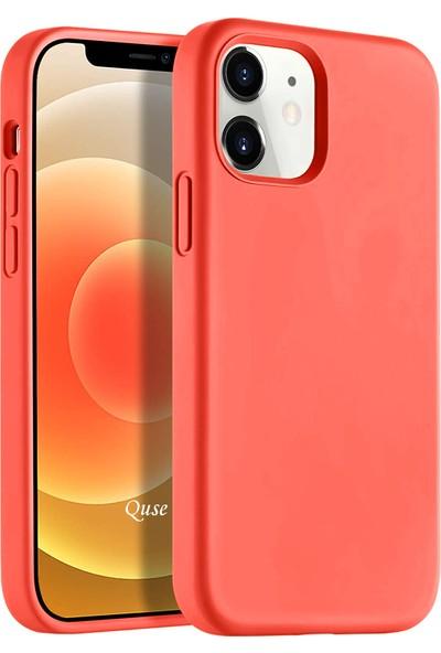 Quse Apple iPhone 12 (6.1'') Soft Touch Liquid Silikon Kılıf Mercan