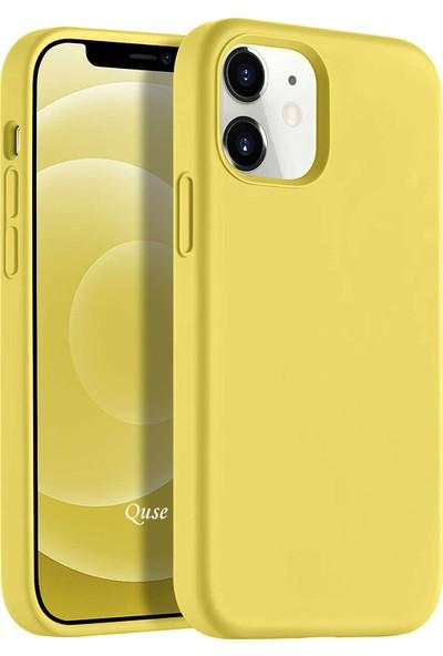 Quse Apple iPhone 12 (6.1'') Soft Touch Liquid Silikon Kılıf Sarı
