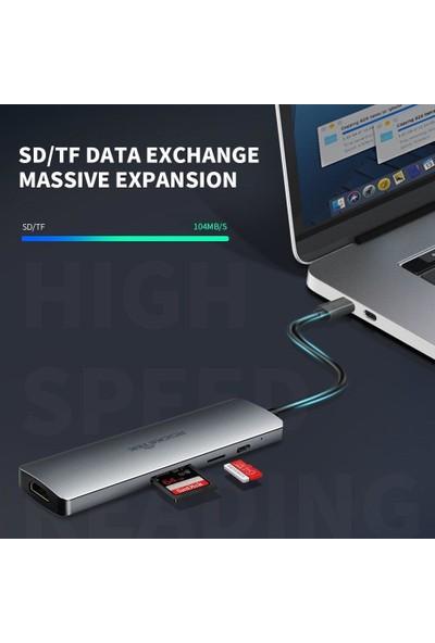 Rocketek Type-C USB 3.0 Hub 4K HDMI MacBook Pro 8-In-1 Port ULC867