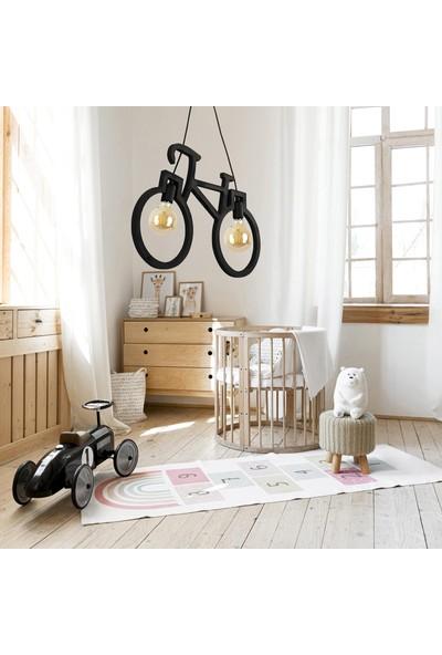 Wooden Bisiklet Sarkıt Avize Lüks Rustik Modern Dekoratif Lamba