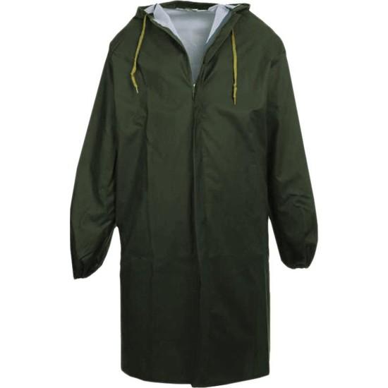 Pvc Yağmurluk Iş Güvenlik Yağmurluk Pardesü Boy Haki