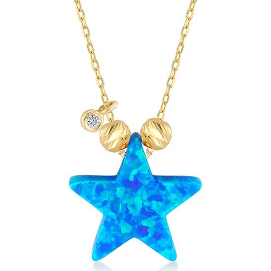 Gelin Pırlanta 14 Ayar Altın Pırlantalı Yıldız Opal Kolye