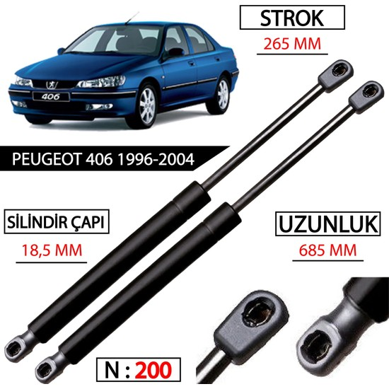 Vtskörük Peugeot 406 Ön Kaput Amortisörü 1996-2004