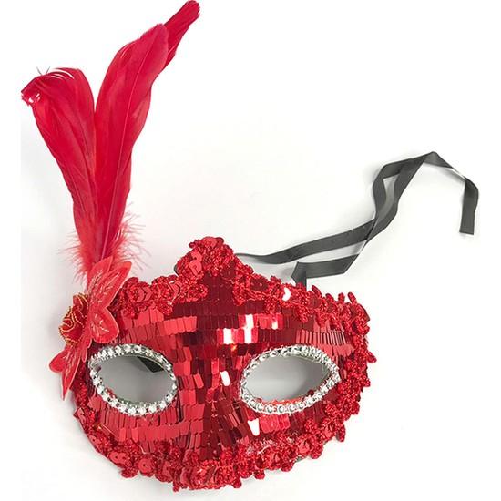Kullan At Market Pullu Tüylü Balo Maske Kırmızı 1 Adet