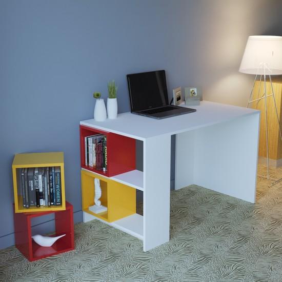 En6 Larissa Kutulu Çalışma Masası Sarı Kırmızı