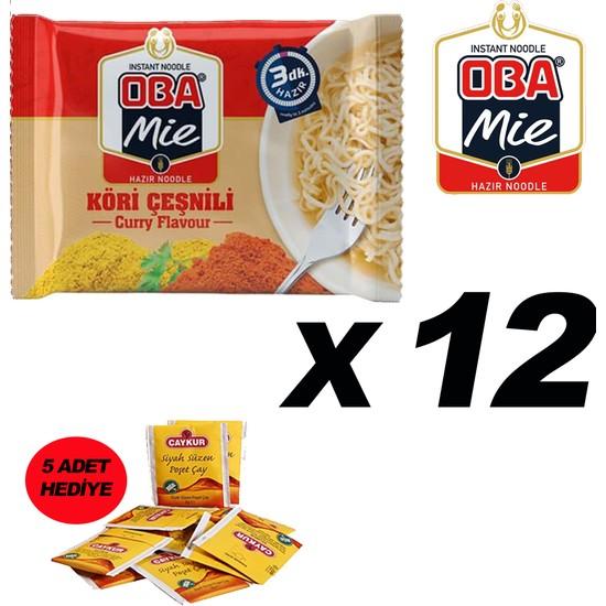 Oba Mie Noodle Hazır Makarna 75GR Köri '' 12 Adet '' (5 Adet Çaykur Altın Süzen Poşet Bardak Çay)