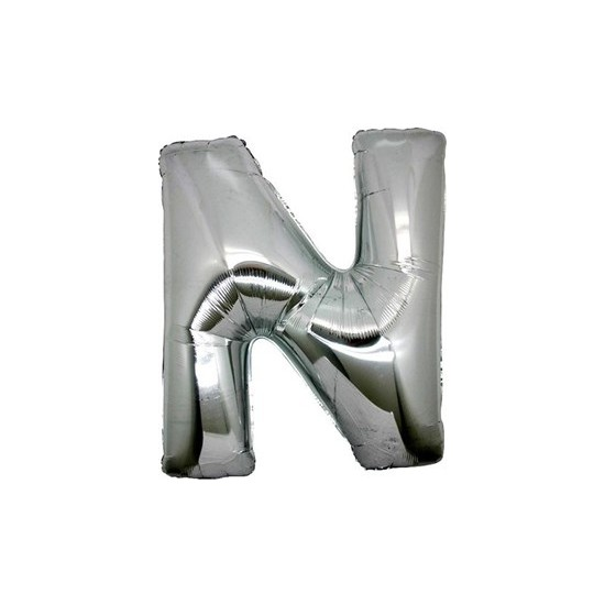 Acar Süs Gümüş Renk N Harfi Folyo BALON(16INÇ) 40 cm