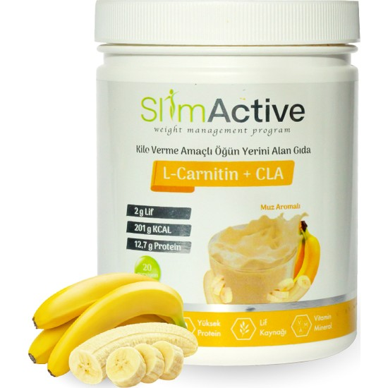 Slim Active Kilo Verme Amaçlı Öğün Yerini Alan Gıda Muz Aromalı Süt Protein L-Carnitin CLA Prebiyotik Stevia