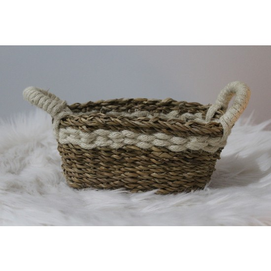 INHOUSE Dekoratif Sea Grass Sepet Hasır Krem Kenarlı