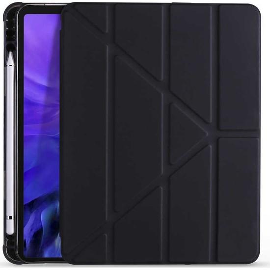 """Samsung Galaxy Tab S7 Plus SM-T970 12.4"""" Kılıf + Kalem Uyku Modlu Kalem Bölmeli Arkası Yumuşak Silikon Smart Standlı Kapaklı Tri Folding Tablet Kılıfı Siyah"""