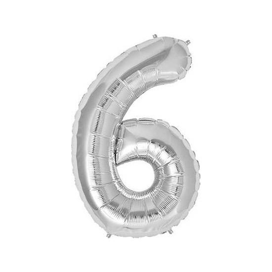 Acar Süs Gümüş Renk 6 Rakamı Folyo BALON(16INÇ) 40 cm