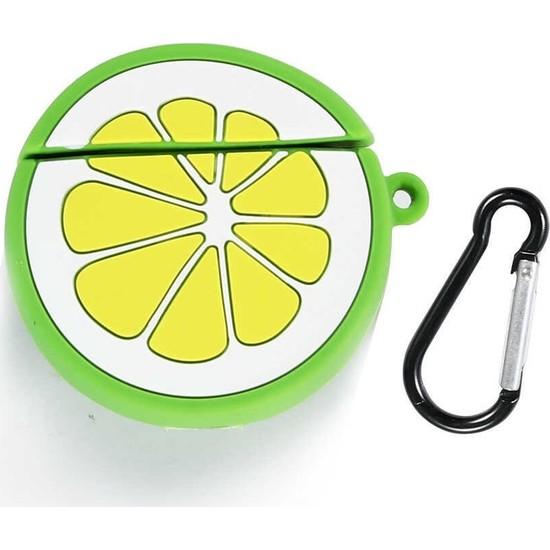 Cep Case Apple Airpods Kılıf Kılıf Soft Yüzey Antishock Figürlü Silikon Limon Model