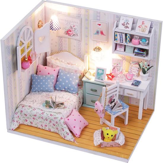 Buyfun Minyatür Bebek Evi Mobilya ile Diy Ahşap Dollhouse