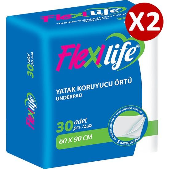 Flexilife Köpek Çiş Pedi Yatak Koruyucu 60x90 Cm 2 Paket 60 Adet