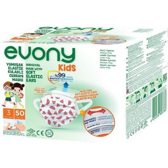 Evony Kids Elastik Kulaklıklı Cerrahi Çocuk Maskesi 50'li