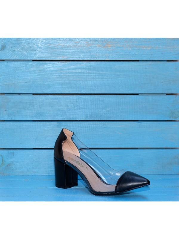 Papuç Sivri Siyah Süet Şeffaf Kalın Topuklu Ayakkabı