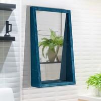 Bluecape Doğal Ağaç 70X42 cm Asrın Salon Ofis Mutfak Çocuk Odası Duvar Konsol Boy Aynası