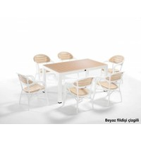 Novussi 90X150 Senza 6'lı Set Beyaz Fildişi Masa Sandalye Takımı