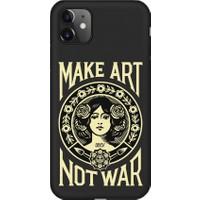 ShoptoCase Apple iPhone 11 Siyah Lansman Make Art Not War Telefon Kılıfı