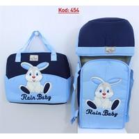 Rain Baby Mavi Kabartma Tavşanlı 2'li Bebek Taşıma Seti