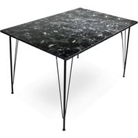 Chic Life Metal Ayaklı Mermer Desenli Mutfak Masası 110X70
