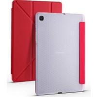 Fujimax Samsung Galaxy S6 Lite 2020 P610 P615 P617 Arka Silikon T.p.u Kalemlikli Yatay ve Dikey Standlı Üçgen Katlanan Smart Kılıf Kırmızı
