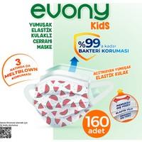 Evony Elastik Kulaklı Çocuk Kids Maske 160 Adet