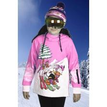 1. Kalite Su Geçirmez Pembe Unisex Kız Çocuk Snowboard ve Kayak Montu