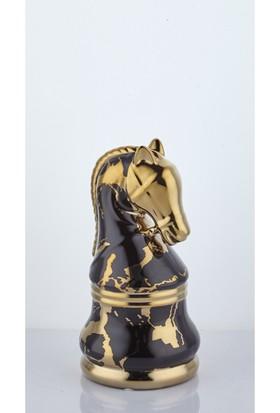 Lamedore Chess Siyah Gold At Taşı Büyük 11,7X11,7X23 cm