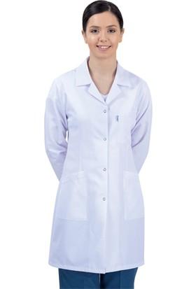 Turkuaz Bayan Beyaz ve Renkli Önlük Doktor-Öğretmen-Öğrenci-Eczaci