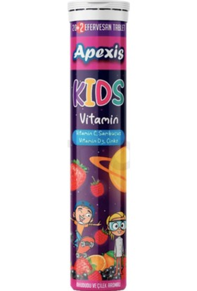 Apexis Kids Vitamin C Sambucus D3 Çinko Efervesan 22 Tablet