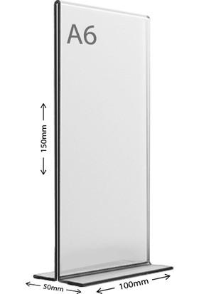 Display Malzeme Dm A6 T Tipi Dikey Masa Üstü Şefaf Pleksi Föylük