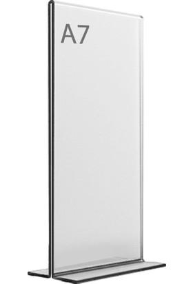 Display Malzeme Dm A7 T Tipi Dikey Masa Üstü Şefaf Pleksi Föylük